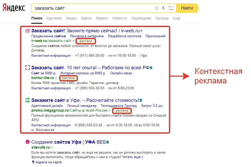 Контекстная реклама на площадке Яндекс